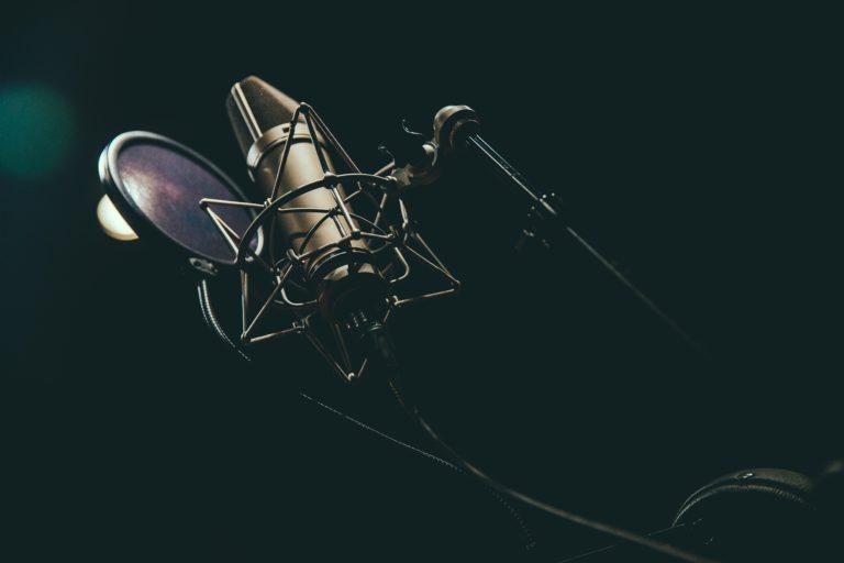 edge radio microphone with black background
